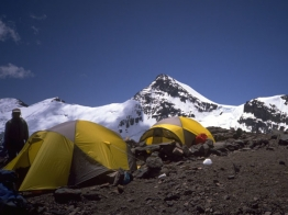 Camp II with Cerro Cuerno in the background